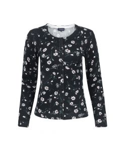 CARDI CREW NECK SMALL FLOWER, BLACK