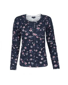 CARDI CREW NECK SMALL FLOWER, NAVY