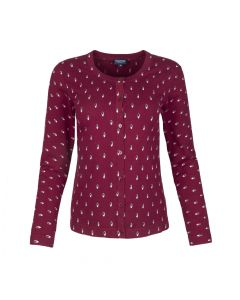 LADIES CARDI PRINT, BURGUNDY
