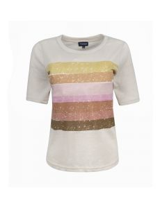 LADIES SHIRT STRIPE, BEIGE