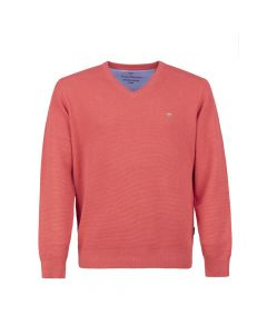 SWEATER V - NECK STRUCTURE, CORAL