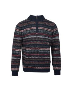 SWEATER TROYER JAQUARD, NAVY