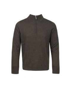 SWEATER HALF ZIP , EARTH