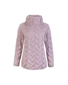 LADIES SWEATER CABLE, PINK