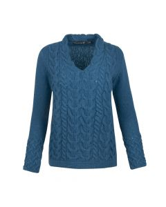 SWEATER HORSESHOE CABLE V-NECK, TEAL