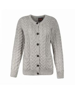 LADIES CARDI CABLE, BEIGE