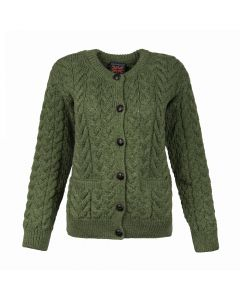LADIES CARDI CABLE, GREEN