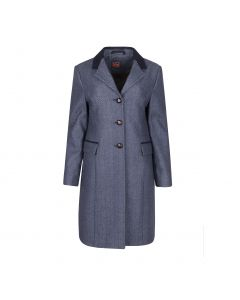 LADIES COAT HERRINGBONE  , BLUE