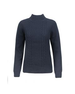 MOCK NECK CABLE PULLOVER, NAVY