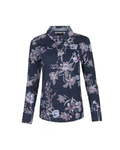 LADIES POLO BIG FLOWER , NAVY