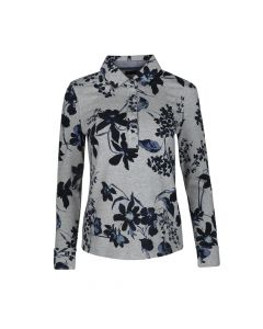 LADIES POLO BIG FLOWER , GREY