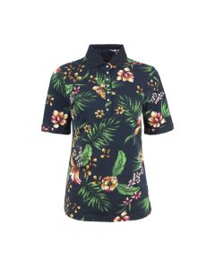 LADIES POLO FLOWER , NAVY