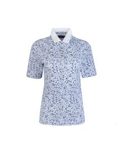 LADIES POLO PETIT FLOWER, WHITE