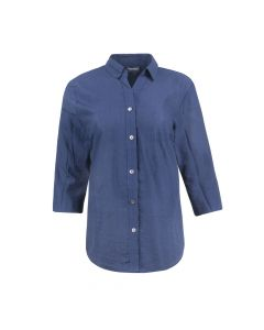 LADIES SHIRT BUTTON DOWN, NAVY