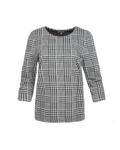 LADIES SHIRT HOUNDSTOOTH, BLACK/WHITE