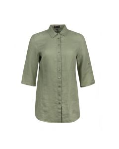 LADIES SHIRT LINNEN , OLIVE
