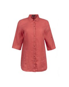 LADIES SHIRT LINNEN , CORAL