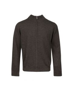 CARDIGAN MOCK NECK ZIP, EARTH