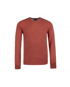 MENS SWEATER V-NECK , RUST