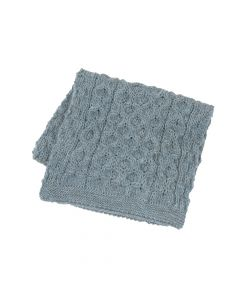 SCARF ARAN , LIGHT GREY