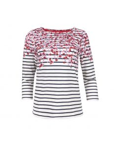 TOP STRIPE FLOWER , RED