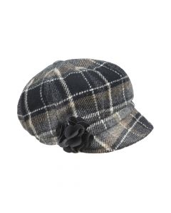 CAP NEWSBOY CHECK, GREY