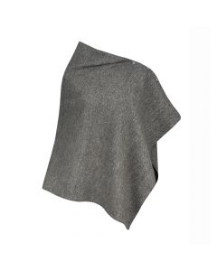 PONCHO HERRINGBONE, BLACK