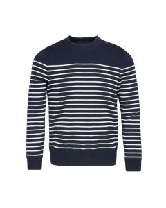 SWEATER O-NECK BINIC, NAVY/WHITE