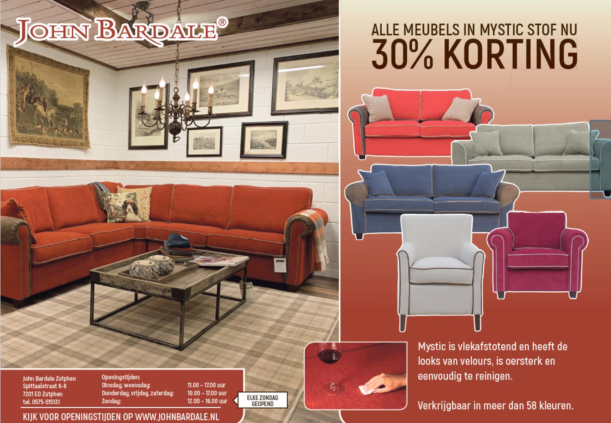 30% korting op ALLE meubels in MYSTIC stoffen
